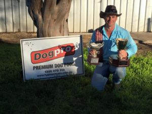 Brad Anderson won both the Encourage and the Novice at the Allora Championships for 2016 with the same dog Millie